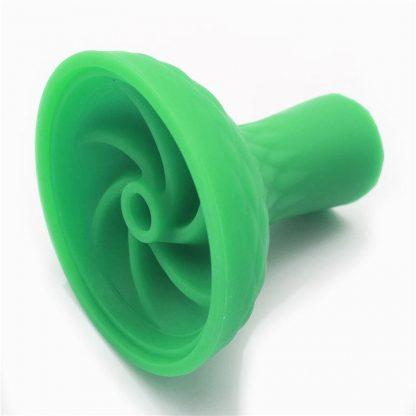 Silicone Shisha Hookah Bowl Head With Metal Tray For Shisha Tobacco Charcoal Holder Green twist