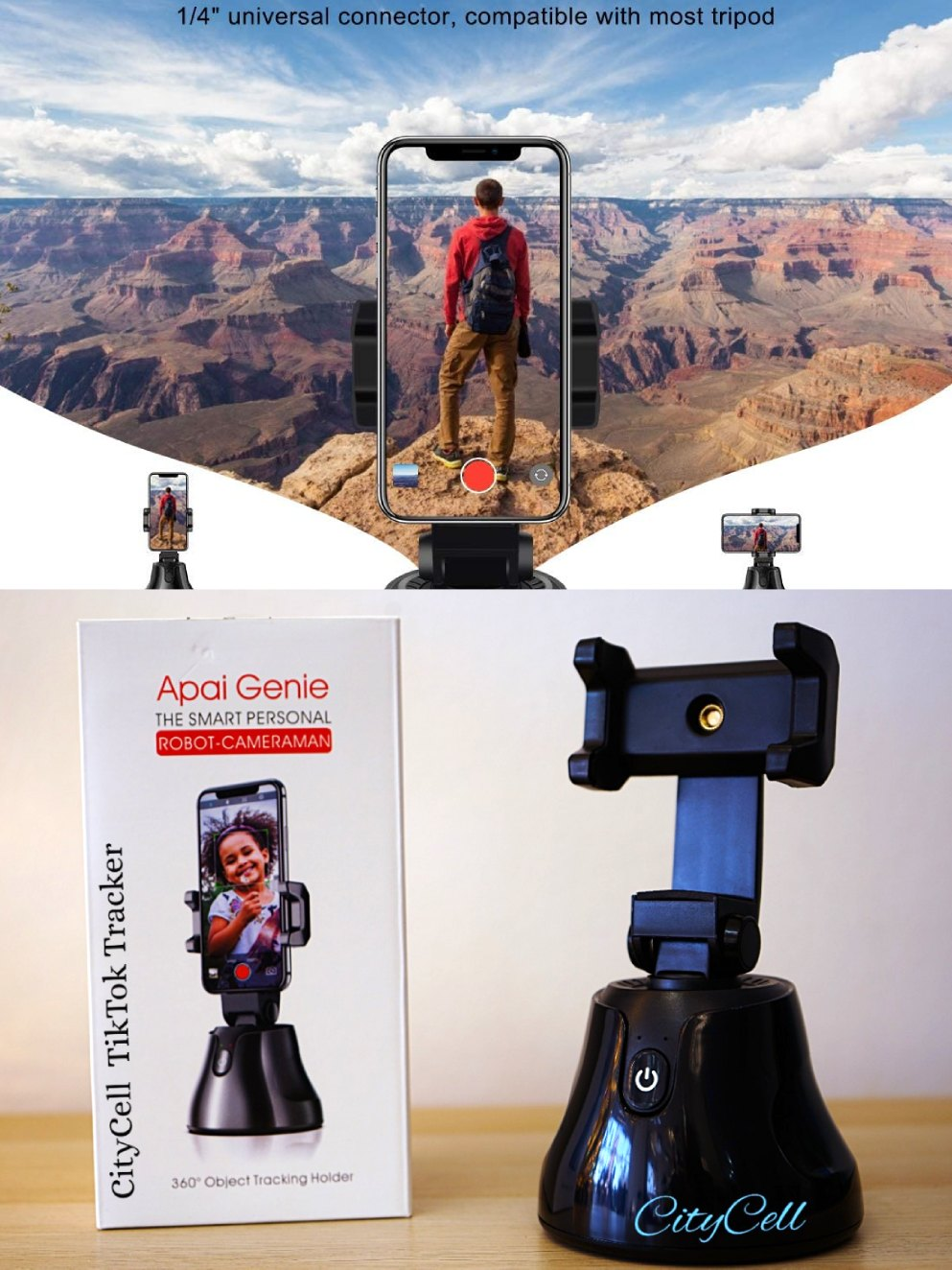 Portable Selfie Stick,360°Rotation Auto Face Object CityCell TIKTOK
