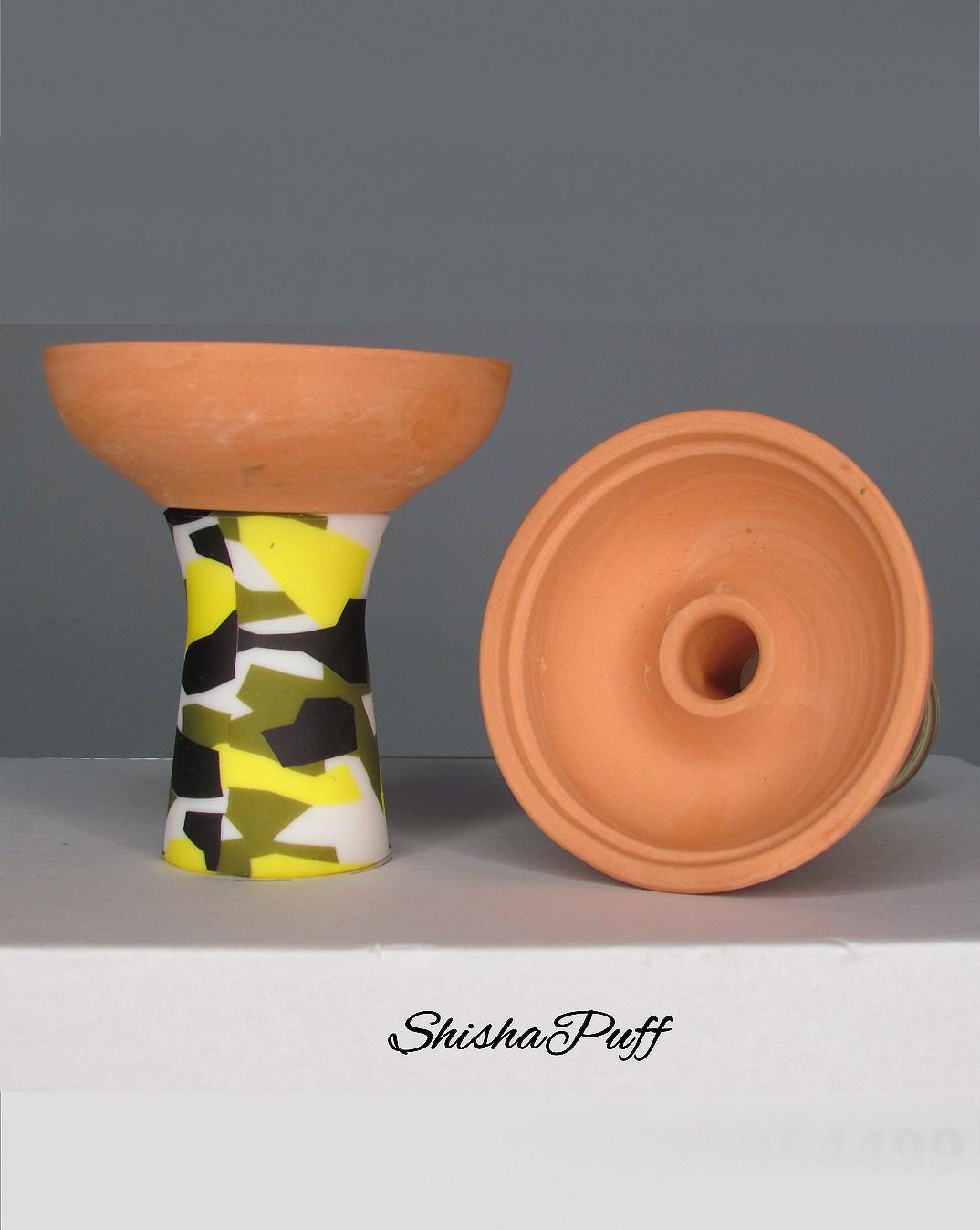 Silicone Ceramic Head Army Yellow Round bowl hookah For Kaloud - Shisha Puff Cyprus Hookah